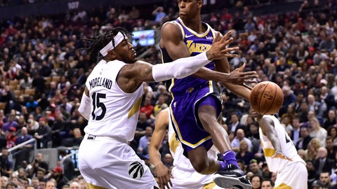 <p>               Los Angeles Lakers guard Rajon Rondo (9) looks to make a pass as Toronto Raptors Eric Moreland (15) defends during the second half of an NBA basketball game Thursday, March 14, 2019, in Toronto. (Frank Gunn/The Canadian Press via AP)             </p>