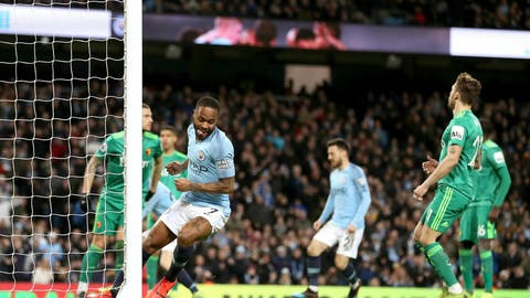 <p>               Manchester City's Raheem Sterling, center, celebrates scoring during the English Premier League soccer match between Manchester City and Watford at the Etihad Stadium, Manchester, England, Saturday March 9, 2019. (Martin Rickett/PA via AP)             </p>