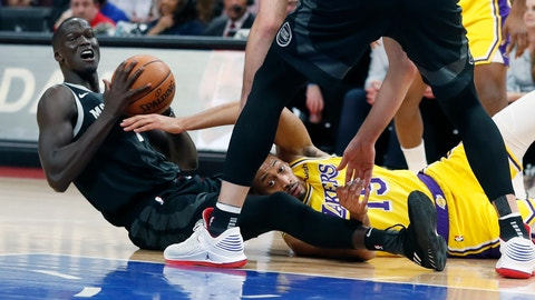 <p>               Los Angeles Lakers forward Johnathan Williams (19) and Detroit Pistons forward Thon Maker (7) try to control the loose ball during the first half of an NBA basketball game, Friday, March 15, 2019, in Detroit. (AP Photo/Carlos Osorio)             </p>