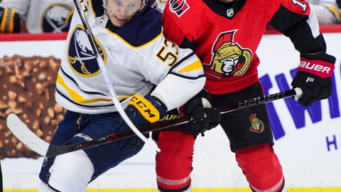 <p>               Buffalo Sabres left wing Jeff Skinner (53) pushes against Ottawa Senators right wing Max Veronneau (14) during second period NHL hockey action in Ottawa, Ontario on Tuesday, March 26, 2019. (Sean Kilpatrick/The Canadian Press via AP)             </p>
