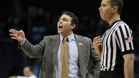<p>               Georgia Tech head coach Josh Pastner, left, directs his team against Notre Dame during the first half of an NCAA college basketball game in the Atlantic Coast Conference tournament in Charlotte, N.C., Tuesday, March 12, 2019. (AP Photo/Nell Redmond)             </p>