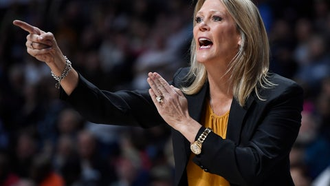 <p>               Central Florida head coach Katie Abrahamson-Henderson calls out to her team during the first half of an NCAA college basketball game in the American Athletic Conference women's tournament finals against Connecticut, Monday, March 11, 2019, at Mohegan Sun Arena in Uncasville, Conn. (AP Photo/Jessica Hill)             </p>