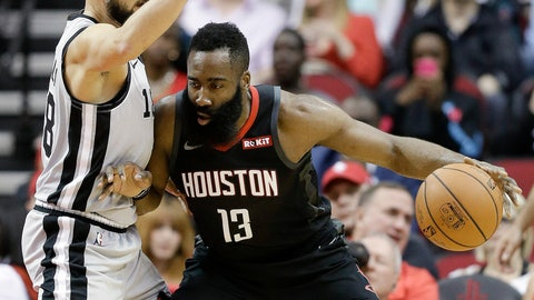 <p>               Houston Rockets guard James Harden (13) dribbles as San Antonio Spurs guard Marco Belinelli (18) defends during the first half of an NBA basketball game Friday, March 22, 2019, in Houston. (AP Photo/Eric Christian Smith)             </p>