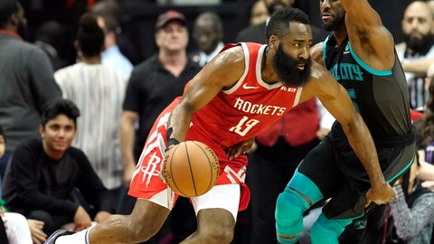 <p>               Houston Rockets' James Harden (13) drives toward the basket as Charlotte Hornets' Kemba Walker defends during the first half of an NBA basketball game Monday, March 11, 2019, in Houston. (AP Photo/David J. Phillip)             </p>
