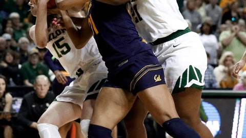 <p>               Baylor's Lauren Cox (15) and Kalani Brown, right, combine to strip the ball away from California center Kristine Anigwe (31) in the first half of a second-round game in the NCAA women's college basketball tournament in Waco, Texas, Monday, March 25, 2019. (AP Photo/Tony Gutierrez)             </p>