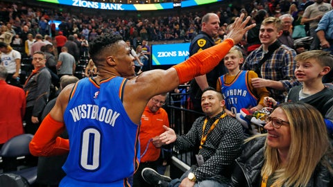 <p>               CORRECTS DATELINE TO SALT LAKE CITY INSTEAD OF KEARNS, UTAH - Oklahoma City Thunder guard Russell Westbrook (0) waves to the crowd as he leaves the court following an NBA basketball game against the Utah Jazz, Monday, March 11, 2019, in Salt Lake City. (AP Photo/Rick Bowmer)             </p>