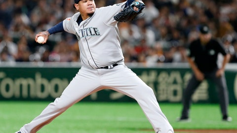 <p>               Seattle Mariners starter Felix Hernandez pitches against the Yomiuri Giants in the first inning of their preseason exhibition baseball game at Tokyo Dome in Tokyo, Monday, March 18, 2019. (AP Photo/Toru Takahashi)             </p>