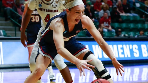 <p>               Belmont guard Jenny Roy grabs a rebound against South Carolina during a first-round women's college basketball game in the NCAA Tournament in Charlotte, N.C., Friday, March 22, 2019. (AP Photo/Jason E. Miczek)             </p>