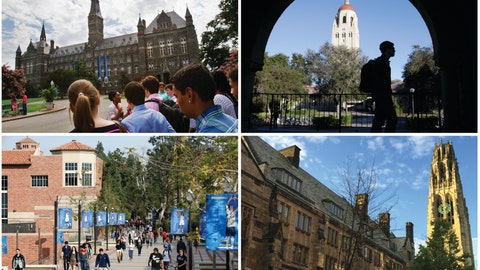 <p>               This combination of images shows college campuses, clockwise from top left, Georgetown University, Stanford University, Yale University, and University of California, Los Angeles. Prosecutors said dozens of parents paid bribes to alter their children's test scores or get them into these and other colleges. The scandal underscored deep divisions on issues of class, privilege and race that are dominant themes in the political debate and part of daily discussions by regular Americans. (AP Photos)             </p>