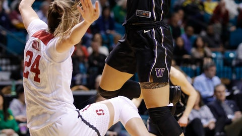 <p>               Washington's Mai-Loni Henson drives into Stanford's Lacie Hull during the first half of an NCAA college basketball game in the semifinals of the Pac-12 women's tournament Saturday, March 9, 2019, in Las Vegas. (AP Photo/John Locher)             </p>