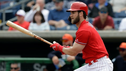 <p>               Philadelphia Phillies' Bryce Harper watches his single off Detroit Tigers starting pitcher Spencer Turnbull during the fourth inning of a spring training baseball game Wednesday, March 20, 2019, in Clearwater, Fla. (AP Photo/Chris O'Meara)             </p>