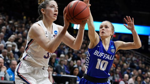 <p>               Connecticut's Katie Lou Samuelson (33) looks to shoot as Buffalo's Hanna Hall (10) defends during the first half of a second-round women's college basketball game in the NCAA tournament, Sunday, March 24, 2019, in Storrs, Conn. (AP Photo/Jessica Hill)             </p>