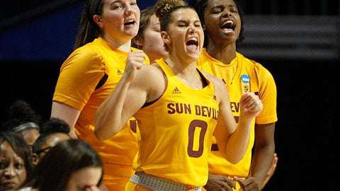 <p>               Arizona State guard Taya Hanson (0) leads the bench in cheering for her team, during a first round women's college basketball game against UCF, in the NCAA Tournament in Friday, March 22, 2019, in Coral Gables, Fla. (AP Photo/Luis M. Alvarez)             </p>