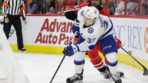 <p>               Tampa Bay Lightning's Yanni Gourde (37) chases the puck with Carolina Hurricanes' Calvin de Haan (44) during the first period of an NHL hockey game in Raleigh, N.C., Thursday, March 21, 2019. (AP Photo/Gerry Broome)             </p>