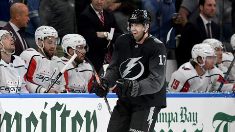<p>               Tampa Bay Lightning left wing Alex Killorn (17) celebrates his first of two goals during the first period of an NHL hockey game against the Washington Capitals Saturday, March 16, 2019, in Tampa, Fla. (AP Photo/Jason Behnken)             </p>