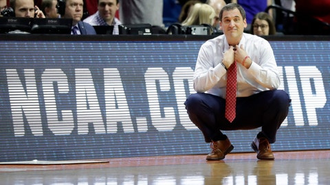 <p>               Iowa State head coach Steve Prohm is seen on the sidelines during the second half of a first round men's college basketball game against Ohio State in the NCAA Tournament Friday, March 22, 2019, in Tulsa, Okla. Ohio State won 62-59. (AP Photo/Jeff Roberson)             </p>