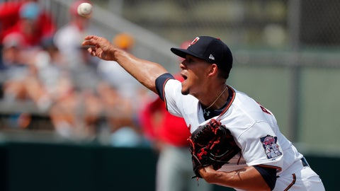 <p>               Minnesota Twins starting pitcher Jose Berrios (17) throws in the first inning of their spring season baseball game against the Philadelphia Phillies in Fort Myers, Fla., Sunday, March 3, 2019. (AP Photo/Gerald Herbert)             </p>
