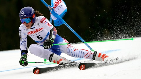 <p>               Slovakia's Petra Vlhova competes in the first run of an alpine ski, women's World Cup giant slalom, in Spindleruv Mlyn, Czech Republic, Friday, March. 8, 2019. (AP Photo/Giovanni Auletta)             </p>