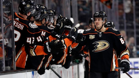 <p>               Anaheim Ducks' Rickard Rakell, right, celebrates his goal with teammates during the first period of an NHL hockey game Friday, March 22, 2019, in Anaheim, Calif. (AP Photo/Marcio Jose Sanchez)             </p>