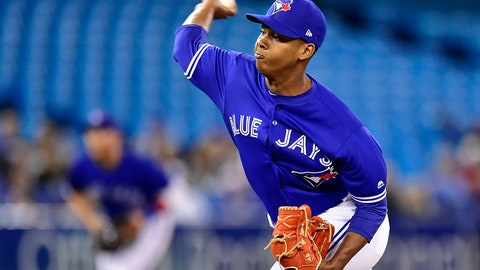 <p>               Toronto Blue Jays relief pitcher Elvis Luciano (65) works against the Detroit Tigers during the seventh inning of a baseball game in Toronto on Sunday, March 31, 2019. (Frank Gunn/The Canadian Press via AP)             </p>
