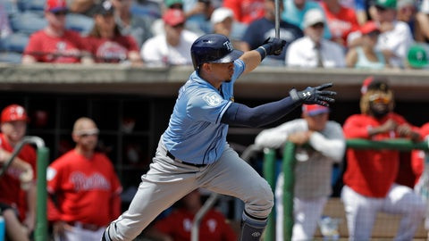 <p>               Tampa Bay Rays' Willy Adames follows the flight of his two-run single off Philadelphia Phillies pitcher Vince Velasquez during the second inning of a spring training baseball game Monday, March 11, 2019, in Clearwater, Fla. (AP Photo/Chris O'Meara)             </p>