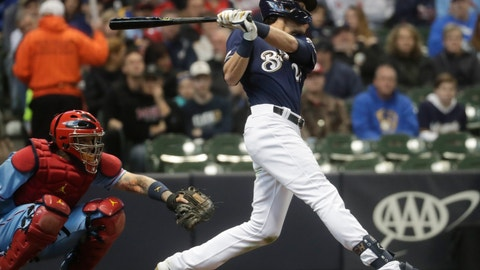 <p>               Milwaukee Brewers' Christian Yelich hits a home run during the first inning of a baseball game against the St. Louis Cardinals Saturday, March 30, 2019, in Milwaukee. (AP Photo/Morry Gash)             </p>