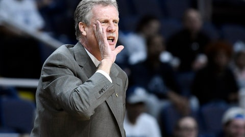 <p>               Iona head coach Tim Cluess shouts instructions to his players during the first half of the championship NCAA college basketball game against Monmouth in the Metro Atlantic Athletic Conference tournament, Monday, March 11, 2019, in Albany, N.Y. (AP Photo/Hans Pennink)             </p>
