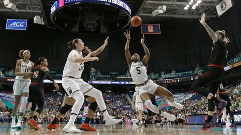 <p>               Notre Dame's Jackie Young (5) shoots against Louisville during the first half of an NCAA college basketball game in the championship of the Atlantic Coast Conference women's tournament in Greensboro, N.C., Sunday, March 10, 2019. (AP Photo/Chuck Burton)             </p>
