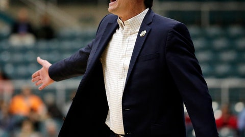 <p>               Abilene Christian coach Joe Golding shouts during the first half of the team's NCAA college basketball game against New Orleans for the Southland Conference men's tournament title Saturday, March 16, 2019, in Katy, Texas. (AP Photo/Michael Wyke)             </p>