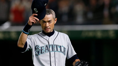 <p>               Seattle Mariners right fielder Ichiro Suzuki waves to spectators while leaving the field for defensive substitution in the eighth inning of Game 2 of the Major League baseball opening series against the Oakland Athletics at Tokyo Dome in Tokyo, Thursday, March 21, 2019. (AP Photo/Toru Takahashi)             </p>
