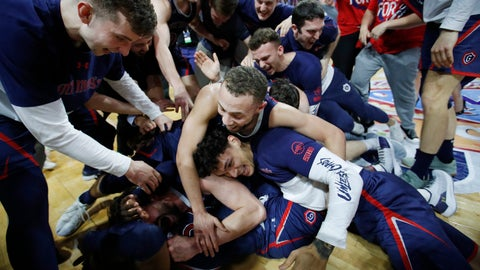 <p>               St. Mary's Jordan Ford, center, and teammates celebrate after defeating Gonzaga 60-47 in an NCAA college basketball game for the West Coast Conference men's tournament title, Tuesday, March 12, 2019, in Las Vegas. (AP Photo/John Locher)             </p>