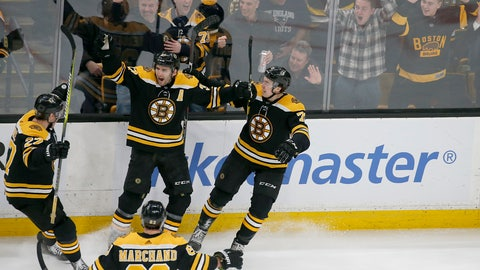 <p>               Boston Bruins center Patrice Bergeron (37) is congratulated by teammates after scoring a goal during the third period of an NHL hockey game against the Florida Panthers, Thursday, March 7, 2019, in Boston. (AP Photo/Mary Schwalm)             </p>
