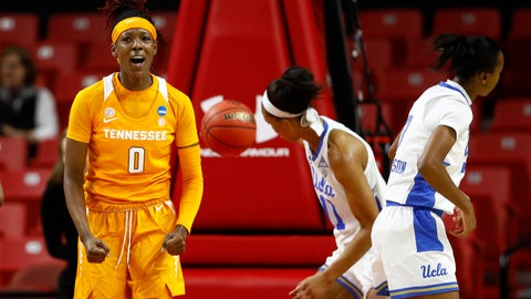 <p>               Tennessee guard Rennia Davis (0) reacts after scoring in the first half of a first-round game against UCLA in the NCAA women's college basketball tournament, Saturday, March 23, 2019, in College Park, Md. (AP Photo/Patrick Semansky)             </p>