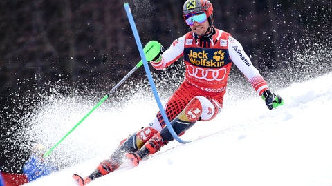 <p>               Austria's Marcel Hirscher speeds down the course during an Alpine Skiing World Cup men's slalom, in Kranjska Gora, Slovenia, Sunday, March. 10, 2019. (AP Photo/Marco Trovati)             </p>