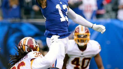 <p>               FILE - In this Oct. 28, 2018, file photo, New York Giants wide receiver Odell Beckham Jr. (13) makes a one handed catch against Washington Redskins safety D.J. Swearinger (36) and linebacker Josh Harvey-Clemons (40) during an NFL football game, in East Rutherford, N.J. No longer a punching bag, the Browns are punching back. From hopeless to hopeful. Finally.  In landing Beckham, one of the game's most electrifying players, the Browns have risen from the deepest depths imaginable in just a year. (AP Photo/Brad Penner, File)             </p>