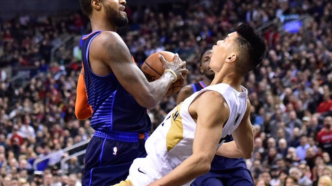 <p>               Oklahoma City Thunder forward Paul George (13) picks up an offensive foul on Toronto Raptors guard Danny Green (14) during second-half NBA basketball game action in Toronto, Friday, March 22, 2019. (Frank Gunn/The Canadian Press via AP)             </p>