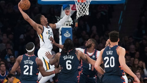 <p>               Utah Jazz guard Donovan Mitchell (45) dunks during the first half of the team's NBA basketball game against the New York Knicks, Wednesday, March 20, 2019, at Madison Square Garden in New York. (AP Photo/Mary Altaffer)             </p>
