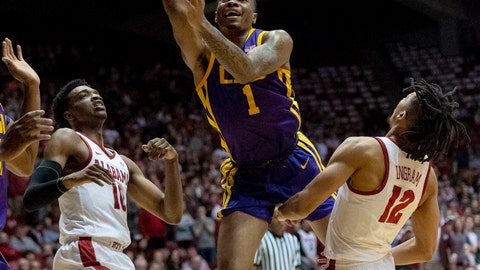 <p>               LSU guard Javonte Smart (1) gets between Alabama guards Herbert Jones (10) and Dazon Ingram (12) for a shot during the first half of an NCAA college basketball game, Saturday, March 2, 2019, in Tuscaloosa, Ala. (AP Photo/Vasha Hunt)             </p>