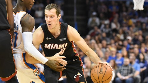 <p>               Miami Heat guard Goran Dragic, right, drives past Oklahoma City Thunder guard Dennis Schroder, left, in the first half of an NBA basketball game against Miami Heat, Monday, March 18, 2019, in Oklahoma City. (AP Photo/Kyle Phillips)             </p>