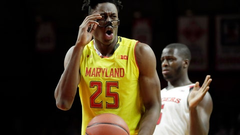 <p>               FILE - In this Jan. 5, 2019, file photo, Maryland forward Jalen Smith reacts to an official's call during the first half of an NCAA college basketball game against Rutgers in Piscataway, N.J. Maryland's success in the postseason could depend heavily on the performance of Smith, a lanky freshman who has both shined and struggled for the No. 21 Terrapins. (AP Photo/Julio Cortez, File)             </p>