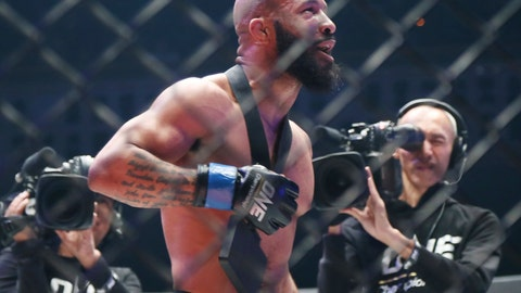 <p>               Mixed martial arts (MMA) fighters Demetrious Johnson of the United States celebrates after defeating Japan's Yuya Wakamatsu during their flyweight world grand prix quarterfinal of One Championship bout in Tokyo, Sunday, March 31, 2019. (AP Photo/Koji Sasahara)             </p>