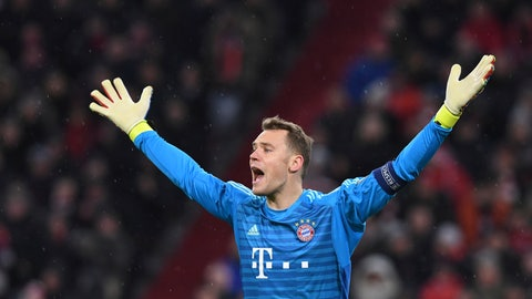 <p>               Bayern goalkeeper Manuel Neuer reacts during the Champions League round of 16 second leg soccer match between Bayern Munich and Liverpool at the Allianz Arena, in Munich, Germany, Wednesday, March 13, 2019. (AP Photo/Kerstin Joensson)             </p>