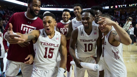 <p>               Temple celebrates the win after the second half of an NCAA college basketball game against Central Florida, Saturday, March 9, 2019, in Philadelphia. Temple won 67-62. (AP Photo/Chris Szagola)             </p>