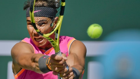 <p>               FILE - In this Friday, March 15, 2019 file photo, Spain's Rafael Nadal hits a return to Russia's Karen Khachanov at the BNP Paribas Open tennis tournament, in Indian Wells, Calif. Rafael Nadal is expected to make his return from a knee injury at the Monte Carlo Masters after being included in the official list of players on Thursday, March 21. Nadal has won Monte Carlo a record 11 times and held a 46-match winning streak from 2005-13 - the most consecutive tournament wins by any man or woman. (AP Photo/Mark J. Terrill, file)             </p>