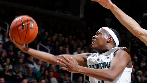 <p>               FILE - In this Dec. 16, 2018, file photo, Michigan State's Cassius Winston puts up a layup against Green Bay during the first half of an NCAA college basketball game, in East Lansing, Mich. Winston was named the Big Ten Conference Player of the Year, Tuesday, March 2, 2019. (AP Photo/Al Goldis, File)             </p>