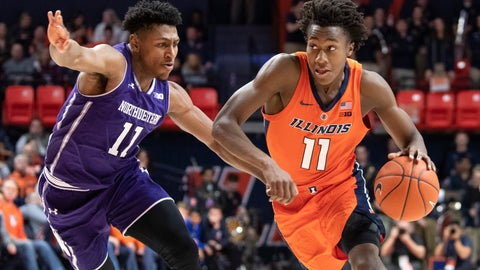 <p>               Illinois guard Ayo Dosunmu (11) drives to the basket against Northwestern guard Anthony Gaines (11) during the first half of an NCAA college basketball game in Champaign, Ill., Sunday, March 3, 2019. (AP Photo/Stephen Haas)             </p>