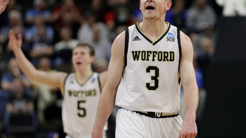 <p>               Wofford's Fletcher Magee (3) celebrates a 3-point shot against Seton Hall with teammate Storm Murphy (5) during the second half of a first-round game in the NCAA men's college basketball tournament in Jacksonville, Fla., Thursday, March 21, 2019. (AP Photo/John Raoux)             </p>