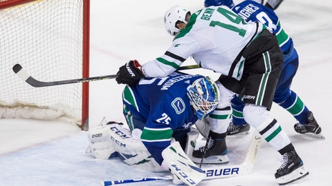 <p>               Vancouver Canucks goalie Jacob Markstrom (25), of Sweden, makes a save as Quinn Hughes, back right, checks Dallas Stars' Jamie Benn (14) during the second period of an NHL hockey game Saturday, March 30, 2019, in Vancouver, British Columbia. (Darryl Dyck/The Canadian Press via AP)             </p>