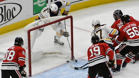 <p>               Buffalo Sabres defenseman Zach Bogosian (4) scores a goal against the Chicago Blackhawks during the second period of an NHL hockey game Thursday, March 7, 2019, in Chicago. (AP Photo/David Banks)             </p>