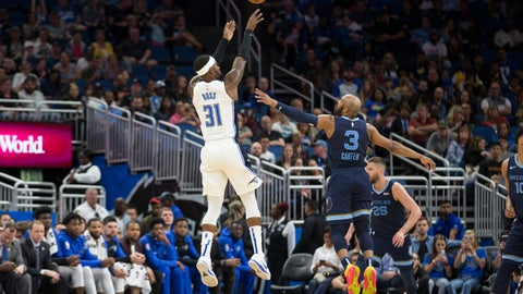 <p>               Orlando Magic guard Terrence Ross (31) hits a 3-pointer over Memphis Grizzlies guard Jevon Carter (3) during the first half of an NBA basketball game in Orlando, Fla., Friday, March 22, 2019. (AP Photo/Willie J. Allen Jr.)             </p>